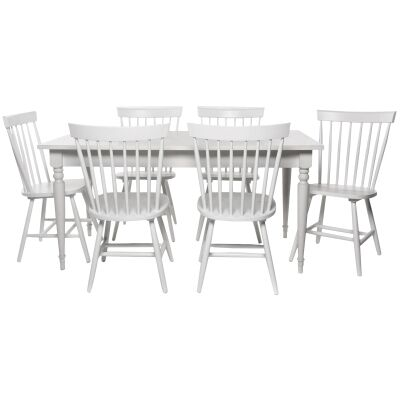 Washington 7 Piece Rubber Wood Dining Table Set, 200cm