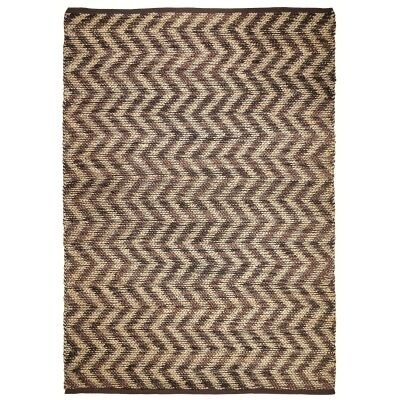 Waves Hand Knotted Jute Rug, 225x155cm, Brown