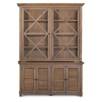 West Beach Wooden Glass Door Hutch Cabinet, Antique Oak