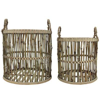 Amira 2 Piece Bamboo Rattan Basket Set