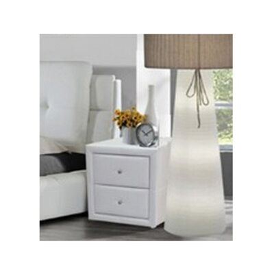WD-12 Bedside Table in White Faux Leather