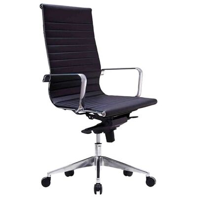 Web PU Leather Executive Office Chair, High Back, Black