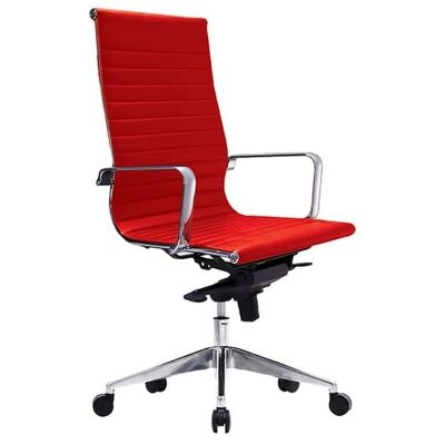 Web PU Leather Executive Office Chair, High Back, Red