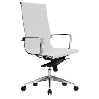 Web PU Leather Executive Office Chair, High Back, White