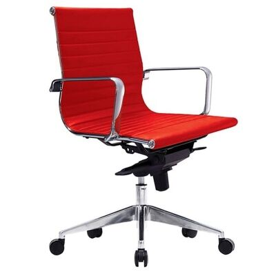 Web PU Leather Executive Office Chair, Low Back, Red