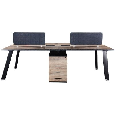 Arto Back-To-Back Workstation Desk, 4 Seats with Middle Cabinets, 240cm