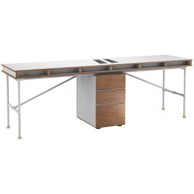 Parker Workstation Desk, 2 Seats with Middle Cabinet, 240cm, White