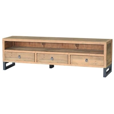 Woodenforge Reclaimed Timber & Metal 3 Drawer TV Unit, 175cm