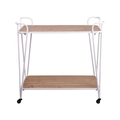 Substation Commercial Grade Pine Timber & Metal Drinks Trolley, White