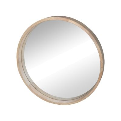Cooper Commercial Grade Rubber Wood Framed Round Wall Mirror, 60cm