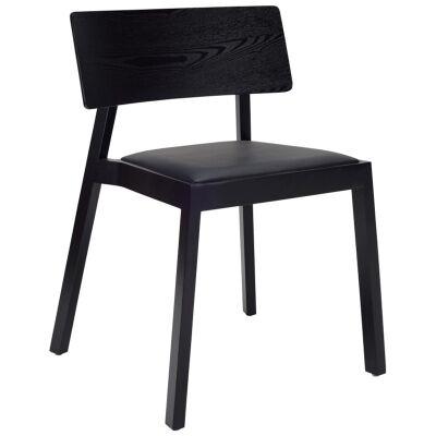 Winta Oak Timber Dining Chair, PU Seat, Black