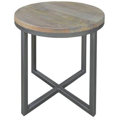 Byrne Mango Wood & Metal Round Side Table