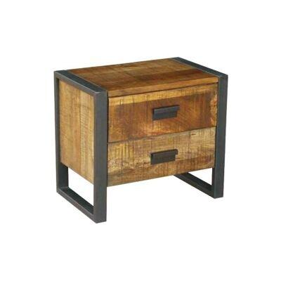 Loft Mango Wood Timber & Metal Bedside Table