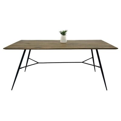Watson Mango Wood & Metal Dining Table, 180cm