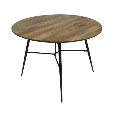 Watson Mango Wood & Metal Round Dining Table, 110cm