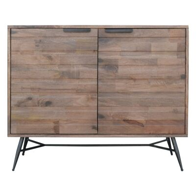 Watson Mango Wood & Metal 2 Door Side Cabinet, 100cm