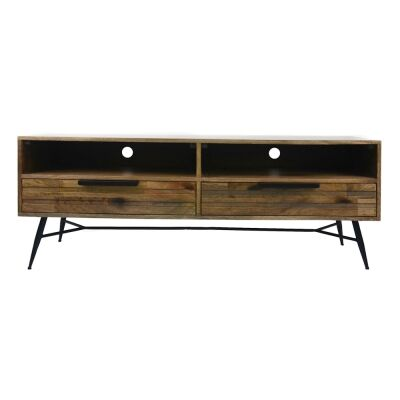 Watson Mango Wood & Metal 2 Drawer TV Unit, 140cm