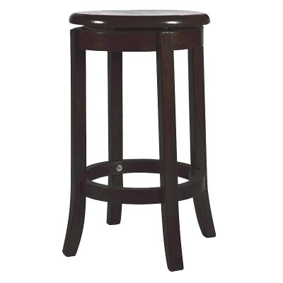 Vaxjo Solid Rubberwood Timber Swivel Stool with Timber Seat, Chocolate