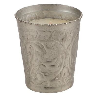 Sahil Metal Votive with Vanilla Scented Candle, Small, Silver