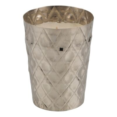 Anika Metal Votive with Vanilla Scented Candle, Small, Silver