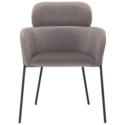 Windsor Commercial Grade Velvet Fabric Dining Armchair, Grey