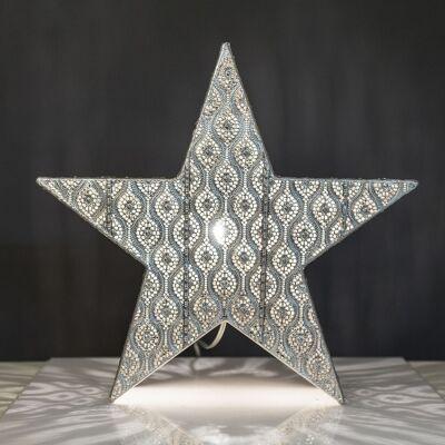 Neo Metal Filigree Star Table Lamp, Silver