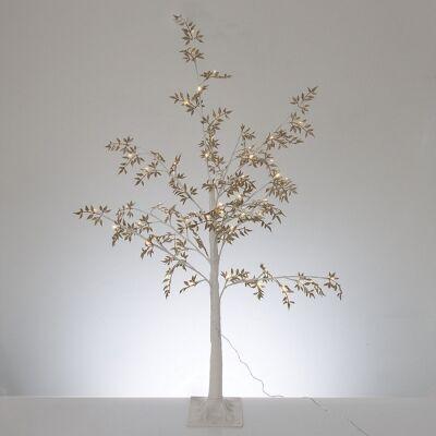 Melvin LED Glitter Leaf Tree, 120cm, Gold / White