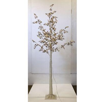 Melvin LED Glitter Leaf Tree, 180cm, Gold / White