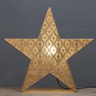 Neo Metal Filigree Star Table Lamp, Champagne