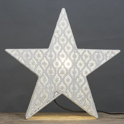 Neo Metal Filigree Star Table Lamp, White