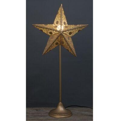 Awais Metal Filigree Star Floor Lamp, 82cm, Champagne