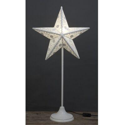 Awais Metal Filigree Star Floor Lamp, 82cm, White