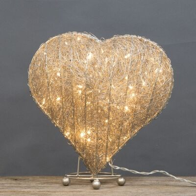 Asa LED Light Up Wire Heart Ornament