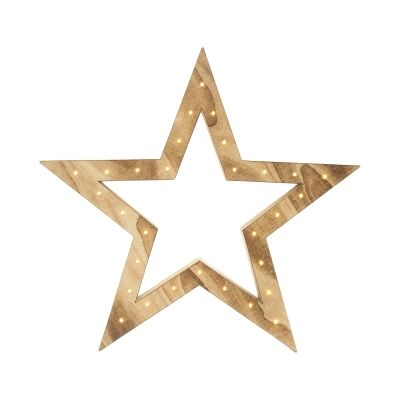 Fahmida Battery Operated LED Light Up Wooden Star Ornament