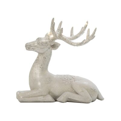 Wilfred Reindeer Figurine with LED Horns, Lying