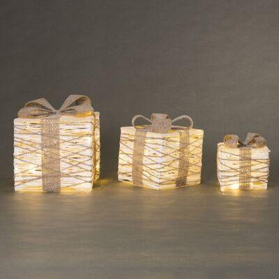 Paine 3 Piece LED Light Up Gift Box Ornament Set