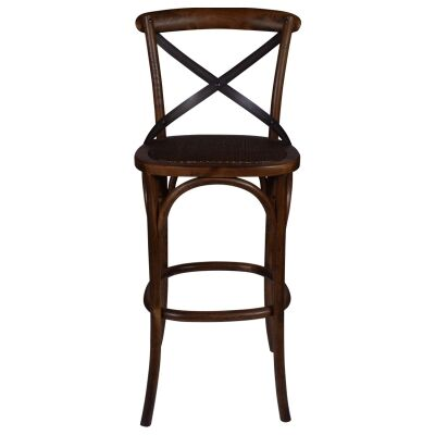 Aston Elm Timber Cross Back Bar Stool, Dark Brown