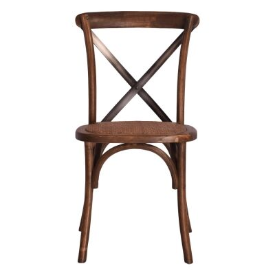 Aston Elm Timber Cross Back Dining Chair, Dark Brown