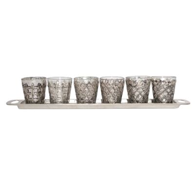 Duarte 6 Piece Glass Votive Set with Metal Tray
