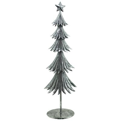 Silvery Star Iron Festive Christmas Tree Decor, Large