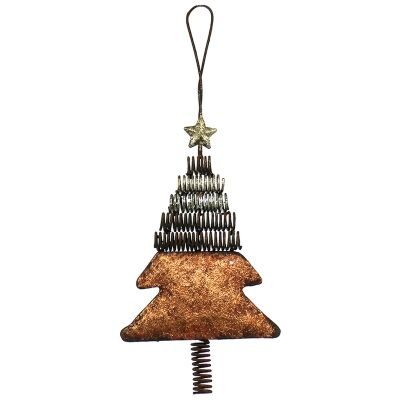 Industrial Iron Xmas Tree Hanging Ornament, Copper