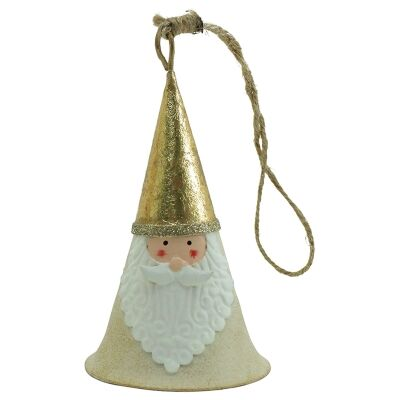 Lokta Iron Santa Bell Hanging Ornament
