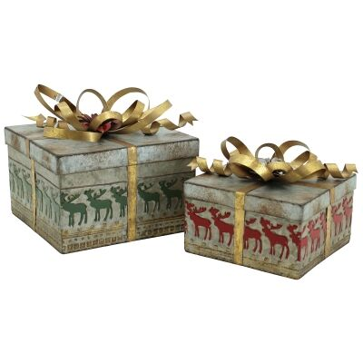 Lavollen 2 Piece Metal Nesting Christmas Present Box Set, Square