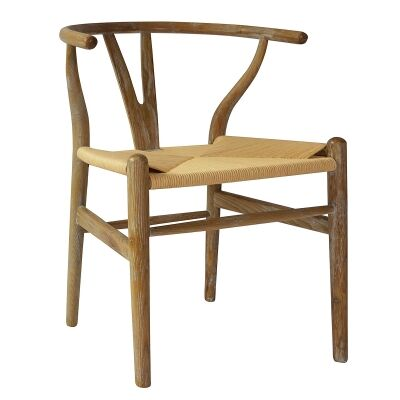 Replica Hans Wegner Wishbone Chair with Rope Seat, Lime Washed Oak