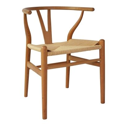 Replica Hans Wegner Wishbone Chair with Rope Seat, Natural