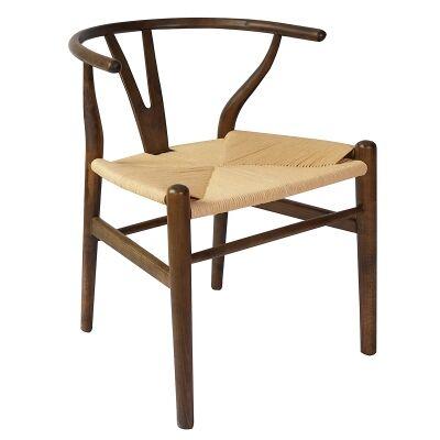Replica Hans Wegner Wishbone Chair with Rope Seat, Walnut