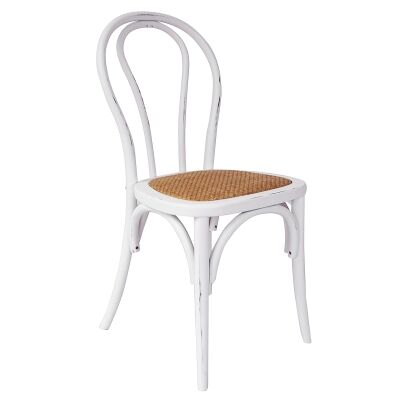 Replica Michael Thonet No.18 Chair with Rattan Seat, Distressed White