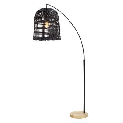 Weave Rattan Shade Arc Floor Lamp