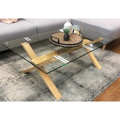 Xylo Glass & Rubberwood Coffee Table, 120cm