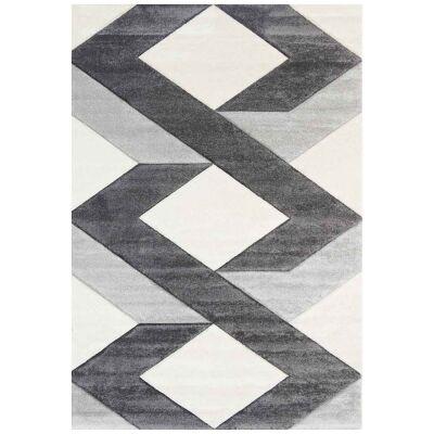 Yalda Reis Modern Rug, 330x240cm, Ivory / Grey